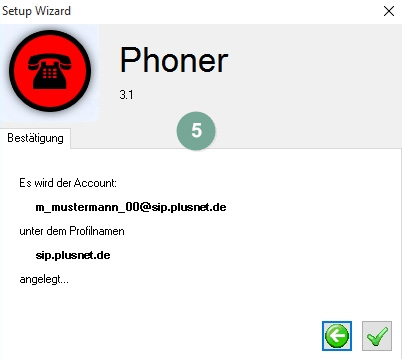 Phoner Accountbestätigung