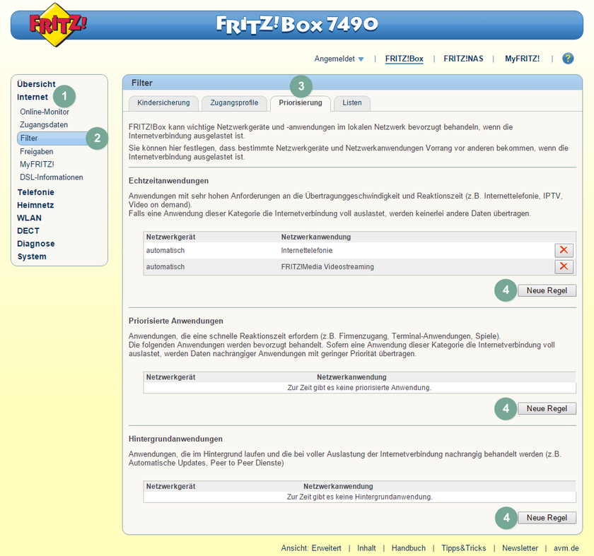 FritzBox Quality of Service 2