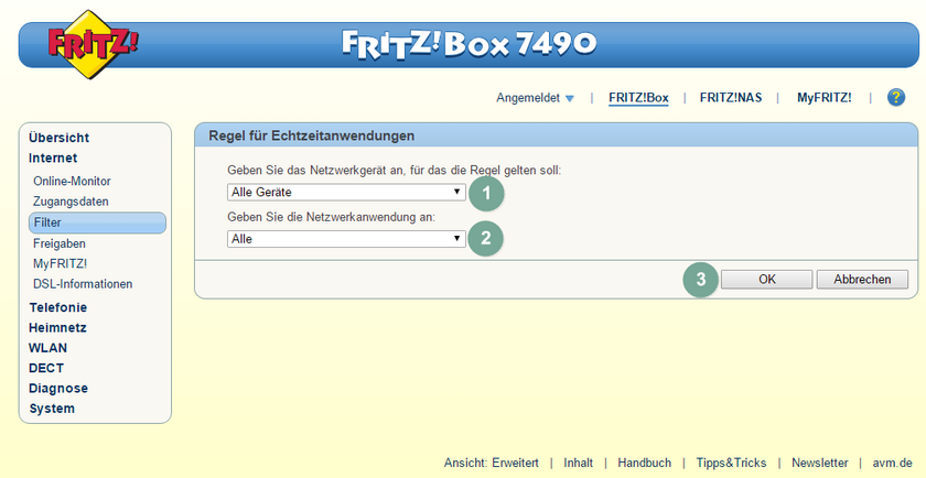 FritzBox Quality of Service 3