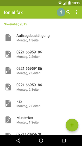 fonial E-Fax-App Suchfunktion